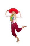 The mexican girl with sombrero dancing on white Royalty Free Stock Photos