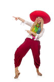 The mexican girl with sombrero dancing on white Stock Images