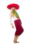 The mexican girl with sombrero dancing on white Royalty Free Stock Images
