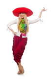 The mexican girl with sombrero dancing on white Stock Image