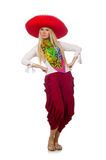 The mexican girl with sombrero dancing on white Stock Photos