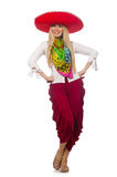 Mexican girl with sombrero dancing on white Royalty Free Stock Photography