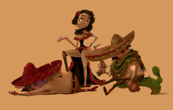 Mexican Girl and Two Men After a Fight. Three Mexican Characters, Two Men and a Woman. Traditional latinos in sombreros. After a fight scene. Beautiful Mexican Royalty Free Stock Image