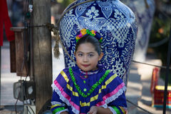 Mexican Girl. A young Mexican girl in traditional costume prepares to dance in a Christmas pageant Royalty Free Stock Photography