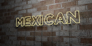 MEXICAN - Glowing Neon Sign on stonework wall - 3D rendered royalty free stock illustration Stock Photo