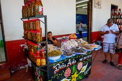 Mexican goods market stall royalty free stock photos