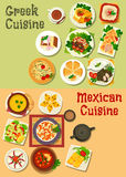 Mexican and greek cuisine icon for food design. Mexican and greek cuisine icon with chilli bean, vegetable soup, meat stew, vegetable cheese and fish roe salad Stock Photo