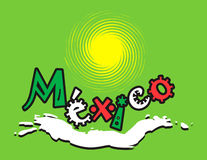 Mexican green logo. Sun and sea Vector Illustration