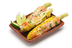 Mexican grilled corn, elote Royalty Free Stock Photos