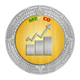 Mexican Growth. One Mexican Peso Coin with a growth arrow inside Royalty Free Stock Photos
