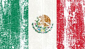 Mexican grunge flag. Vector illustration. Royalty Free Stock Images