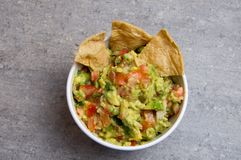 Mexican Guacamole Dip with corn chips stock photo