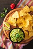 Mexican guacamole dip and nachos tortilla chips royalty free stock image