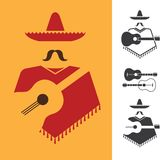 Mexican with guitar Royalty Free Stock Images