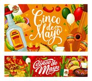 Mexican guitar, cactus, food. Cinco de Mayo party. Cinco de Mayo Mexican holiday vector greeting cards of fiesta party food and drinks. Guitar, maracas and royalty free illustration