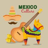 Mexican guitar with hat and maracas to event. Vector illustration stock illustration