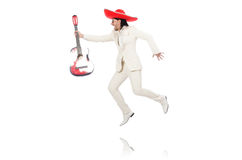 Mexican guitar player isolated on white Royalty Free Stock Image