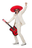 Mexican guitar player isolated on white Royalty Free Stock Photos