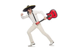 Mexican guitar player isolated on white Stock Images