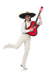 Mexican guitar player isolated on white Royalty Free Stock Photography