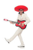 Mexican guitar player isolated on white Stock Photography