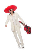 Mexican guitar player isolated on white Royalty Free Stock Photo