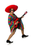 The mexican guitar player isolated on white Stock Photos