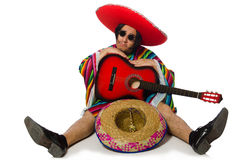 The mexican guitar player isolated on white Royalty Free Stock Photo