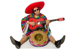 The mexican guitar player isolated on white Stock Images