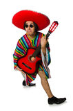 The mexican guitar player isolated on white Stock Image