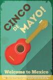 Mexican Guitar. Posters in Retro Style. Cinco de Mayo. Illustration