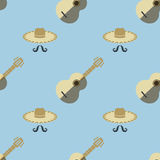 Mexican Guitar Seamless Pattern Stock Photo