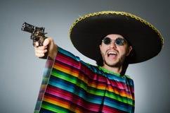 Mexican with gun wearing sombrero Stock Photos