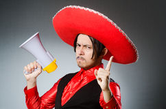 Mexican guy with the loudspeaker. The mexican guy with the loudspeaker Stock Image