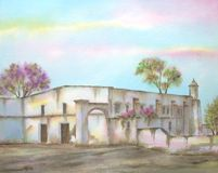 Mexican Hacienda on Michoacan. Digitally photographed image of an original watercolor (on 100% cotton & hand made paper), about the ruins of an old mexican Royalty Free Stock Photos