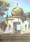 Mexican Hacienda Moorish Dome. Digitally photographed image of an original watercolor (on 100% cotton & hand made paper), about an exceptional moorish dome, part Royalty Free Stock Photography