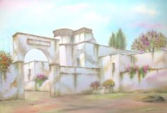 Mexican Hacienda on Puebla. Digitally photographed image of an original watercolor (on 100% cotton & hand made paper), about the ruins of an old mexican hacienda Royalty Free Stock Photos