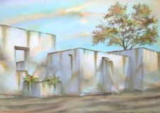 Mexican Hacienda Ruins. Digitally photographed image of an original watercolor (on 100% cotton & hand made paper), about some mexican hacienda ruins; painted Stock Photo