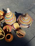 Mexican Hand Bags at Market 4k. Mexican baskets at farmers market Royalty Free Stock Image