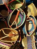 Mexican Hand Bags at Market 4k. Mexican style bags at farmers market Royalty Free Stock Photos