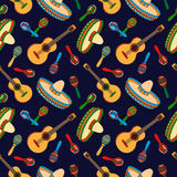 Mexican hand drawn seamless pattern. Cinco de Mayo Mexican hand drawn seamless pattern with guitar, sombrero and maracas. Vector illustration for wallpaper, gift Royalty Free Stock Images