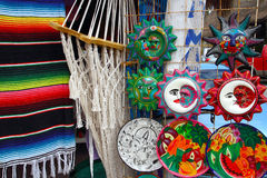 Mexican handcrafts hammock serape and ceramics Stock Images