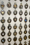 Mexican handcrafts. Metal heart figures handcrafts at Mexico royalty free stock image