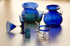 Mexican handicarafted blue glasses and vases Stock Photos