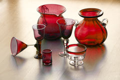 Mexican handicarafted redd glasses and vases Stock Image