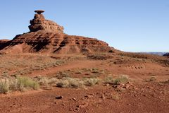 Mexican Hat, Arizona. Mexican Hat, a balanced rock, stands not far from Monument Valley National Park Stock Image