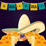 Mexican hat of day death. Vector illustration design royalty free illustration