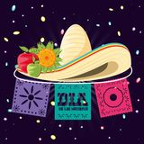 Mexican hat of death day. Vector illustration design vector illustration