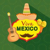 Mexican hat with guitar and maracas to celebrate event royalty free illustration