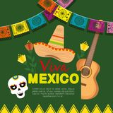 Mexican hat with guitar with skull mask to event. Vector illustration royalty free illustration